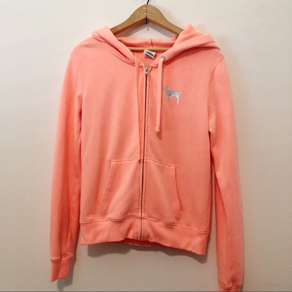 4b912a77d697 PINK Victoria's Secret Tops | Pink Orange Zipper Hoodie Love Pink ...